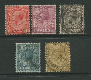 Great Britain #188,195-200 FU 1924  Short Set of 5 Stamps