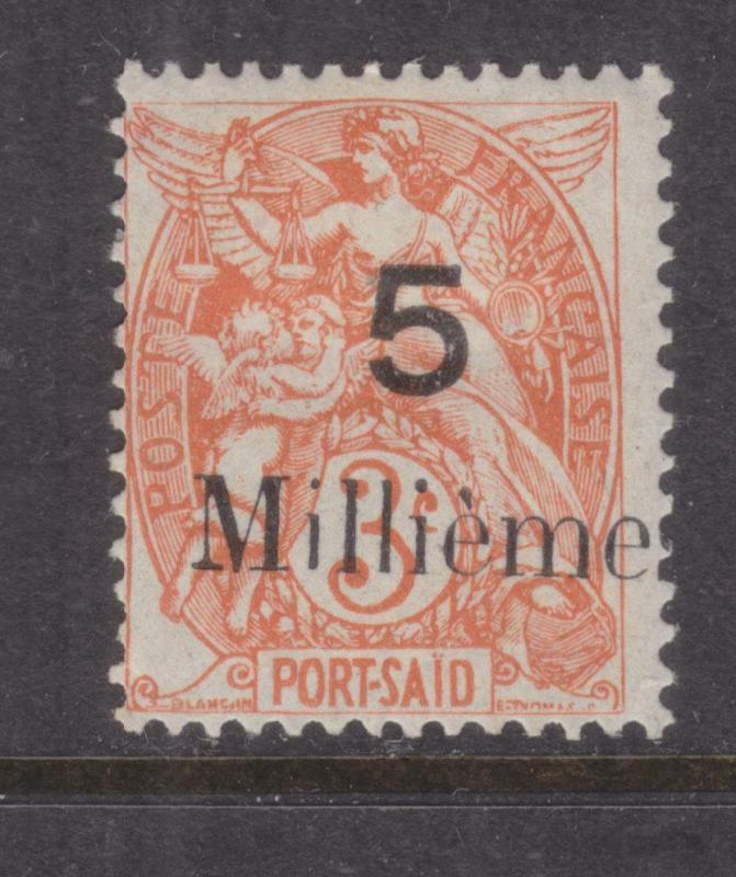 FRENCH PO EGYPT, PORT SAID, 1921 5 Milliemes on 3c. Orange Red, hhm.