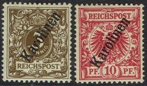 CAROLINE ISLANDS 1899 EAGLE 3PF AND 10PF 56 DEGREE OVERPRINT