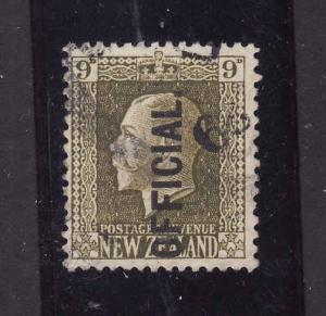 New Zealand-Sc#o53-used 9p olive green-KGV-Official-1925-