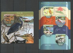 ST1474 2015 S. TOME & PRINCIPE BIRDS FAUNA KB+BL MNH