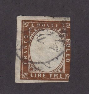 Sardinia Scott # 15 RARE used neat cancel with nice color cv $ 4100 ! see pic !