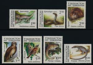 Uzbekistan 7-13 MNH Birds, Animals, Lizard, Snake