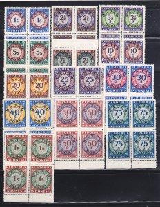 Indonesia J1-J13 Blocks Of 4 Set MNH Numerals (B)