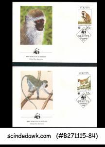 ST. KITTS - 1986 WWF WORLD WILDLIFE FUND / MONKEY - FDC 4nos