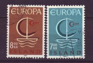J19199 Jlstamps 1966 iceland set used #384-5 europa