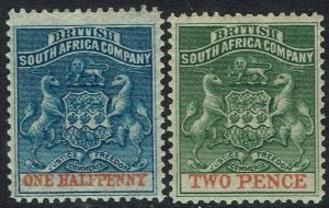 RHODESIA 1892 ARMS 1/2D AND 2D