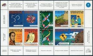 Venezuela 1591 aj sheet,MNH. Michel 3229-3238 klb. OAS 50th Ann.1998.Bolivar,