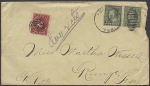 TEXAS DEWITT COUNTY (1911 Yorktown)(Postage Due)