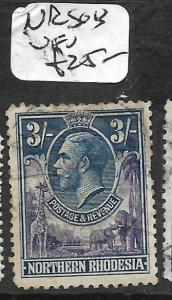 NORTHERN RHODESIA  (P1109B) KGV 3/- SG 13  VFU