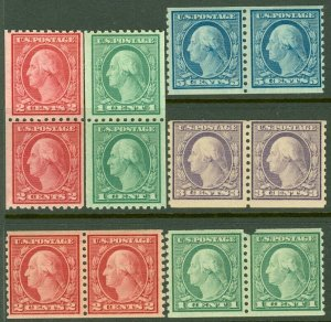 EDW1949SELL : USA 1916-22 Sc #486, 88, 90, 92-93, 96 Rotary Coil pairs Cat $162