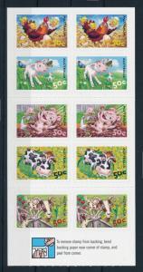 [74617] Australia 2005 Farm Animals Chicken Cow Pig Horse Self Adh. Booklet MNH