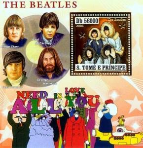 SAO TOME E PRINCIPE 2006 SHEET THE BEATLES SINGERS MUSIC GOLD st6403b