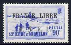 St Pierre & Miquelon 1941-42 France Libre opt on 90c ...