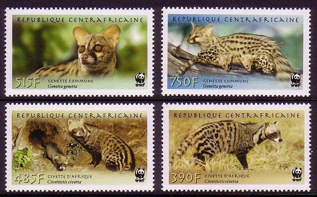 Central African Rep. WWF African Civet and Common Genet 4v MI#2948-51