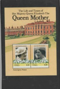 TUVALU-NUKUFETAU #48 1985 QUEEN MOTHER 85TH BIRTH MINT VF NH O.G S/S aa