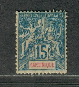 Martinique Sc#40 M/H/F-VF, Cv. $42.50
