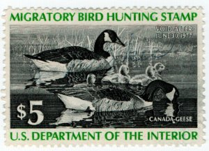 (I.B) US Revenue : Duck Hunting Stamp $5 (1977)