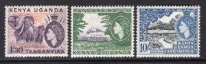 K.U.T. 1954 QE 3 High Values, 1'30, 2 + 10 Shillings MNH