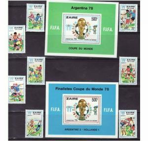 Zaire - World Cup Soccer - 8 Stamp & 2 S/S Set 872-81