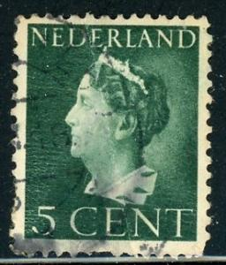 Netherlands #216 Queen Wilhelmina 2c dk green 1940 used crease on stamp