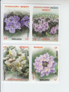 2017 Bangladesh Flowers 2 Pr (Scott 869-70) MNH