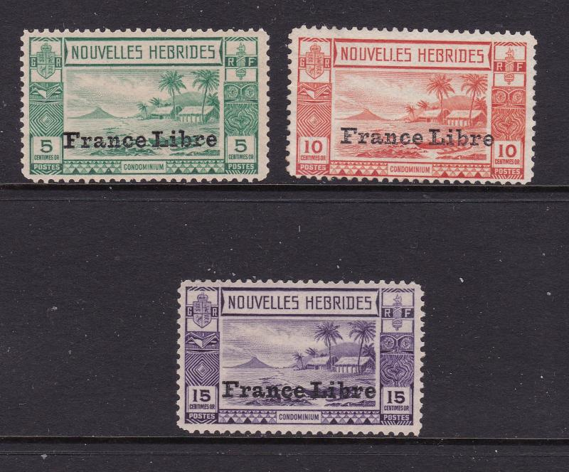 New Hebrides x 3 low values MH  France Libre overprints see scans