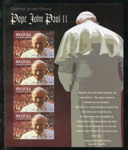 BEQUIA   IN MEMORIAM  POPE JOHN PAUL II IMPERFORATE SHEET MINT NH
