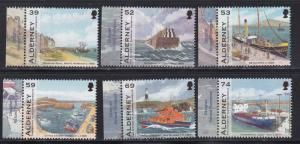 Alderney # 446-451 & 451a, Alderney Harbour Scenes, Ships, NH, 1/2 Cat.