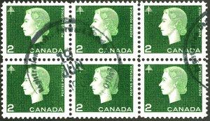 CANADA #402 USED BLOCK OF 6