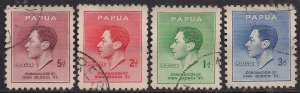 Papua 1937 KGV1 Set Coronation used SG 154 - 157 ( D1161 )