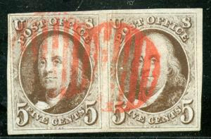 UNITED STATES SCOTT# 1a FRANKLIN PAIR RED GRID CANCEL W/ PF CERTIFICATE AS SHOWN