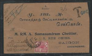 INDOCHINA (P2805B) INCOMING FROM INDIA POSTAGE DUE 50C  1931