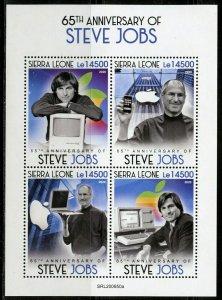 SIERRA LEONE 2020  65th  ANIVERSARY OF STEVE JOBS SHEET MINT NH