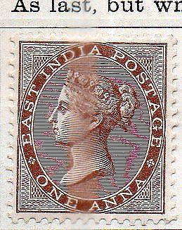 INDIA- 1865- sg no 60  w/m epl  fine m/m cv 19 gbp ( app 1900 rs )