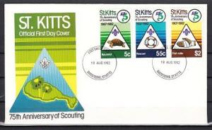 St. Kitts, Scott cat. 99-100. Scouting Anniversary issue. First day cover. *