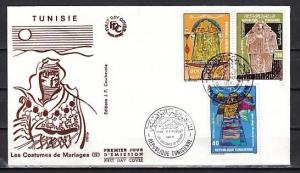 Tunisia, Scott cat. 890-892. Bridal Costumes issue. First Day Cover.