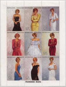 Togo -1997 Diana Princess of Wales in Gowns Sheet VF-NH