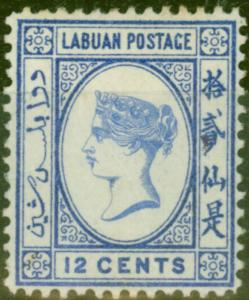 Labuan 1892 12c Brt Blue SG45a No Right Foot to 2nd Chinese Character Unused Fin