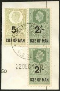 Isle of Man KGVI 5/- and QEII 2 x 2/- Key Plate Type Revenues CDS on Piece