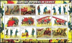 Benin 2003 Medicine Red Cross Fire Trucks Sheet of 12 MNH Cinderella !