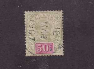 SARAWAK # 46 SON DATED CANCEL 50cts CAT VALUE $40+