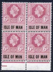 Isle of Man 1960 QEII 6d Revenue Stamp U/M Block of Four