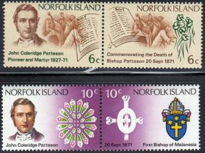 Norfolk Island #145a-147a Cent. of the death of Bishop John Coleridge Patteso...
