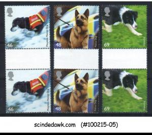 GREAT BRITAIN - 2008 WORKING DOGS / ANIMALS - 3V GUTTER PAIR MNH