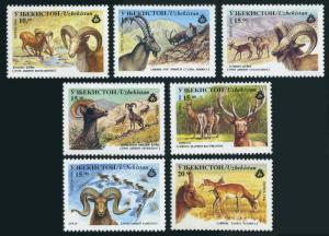 Uzbekistan 104-110,111,MNH.Mi 107-113,Bl.11. Wild life 1996.Owens,gazelles.