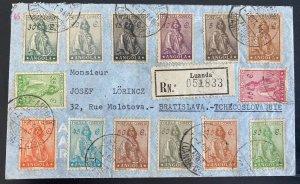 1948 Luanda Portuguese Angola Registered Cover To Bratislava Czechoslovakia