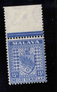 MALAYA Negri Sembilan Scott 28A MH* in selvage only coat of arms stamp