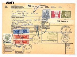 AZ287 1981 Switzerland HIGH VALUES Winterthur *Insured Mail* Card Italy PTS
