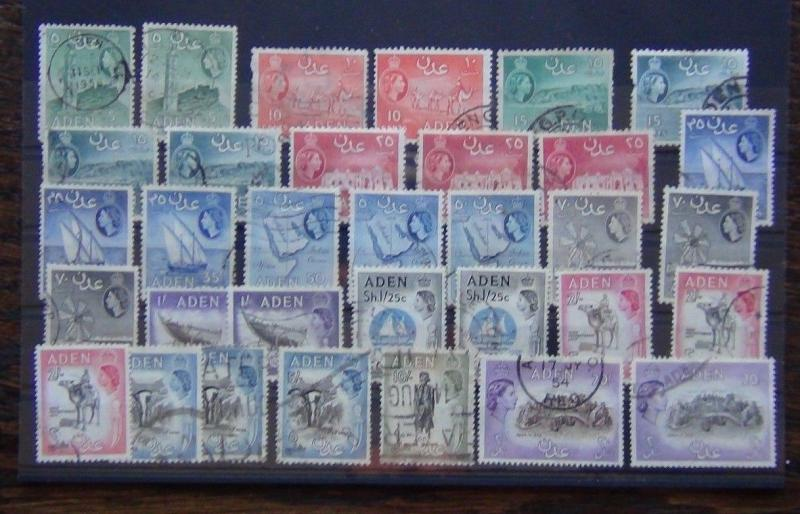 Aden 1953 - 1963 set 20s x 2 Range of Shades and Perforation Varieties Used
